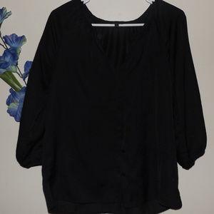 Talbots Women's Size 8 Black Button Blouse